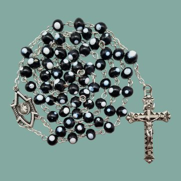 Bold Vintage Murano Glass Lourdes Catholic Rosary | France