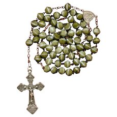 Vintage Lourdes Catholic Art Glass Pilgrimage Rosary | 60 Grams