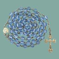 French Art Nouveau Communion Rosary | Gold Vermeil & Blue Glass