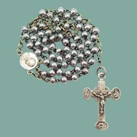Rare Vintage Lourdes Aluminum-Bead Catholic Rosary