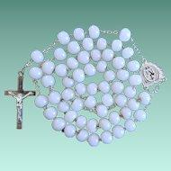 Pristine Antique Victorian Silver & Milk Glass Catholic Rosary – French Hallmarks – Unique Crucifix