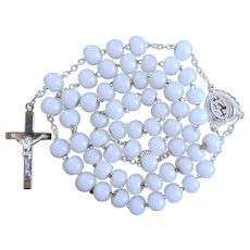 Unique Victorian Silver & Milk Glass Catholic Rosary | French Hallmarks