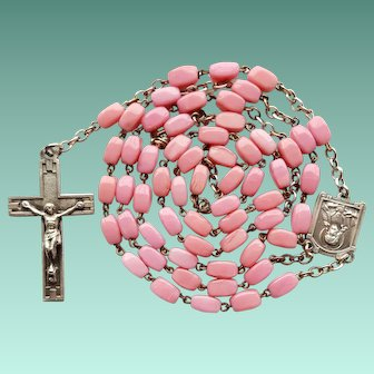Vintage Art Deco Opaque Pink Glass Catholic Rosary – France