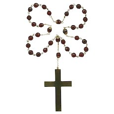 Ruby Red Glass Anglican Rosary | Large Gold Tone Cross