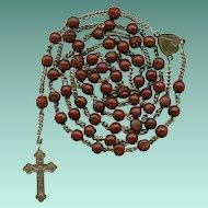 Rare Antique 19C Bois Durci & Steel Victorian Catholic Rosary – Souvenir de Mission