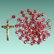 Vintage 1970s Creed Sterling & Pink Crystal Catholic Rosary – Sparkling 62 Grams