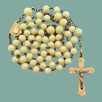 French Art Deco Gilded Rosary | Creamy Artisan Glass