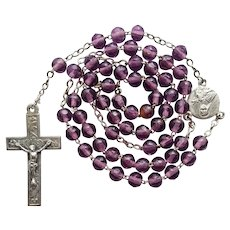 Vintage French Amethyst Glass Catholic Rosary – St. Thérèse of Lisieux Center