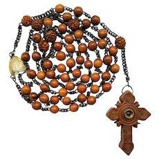 Antique 1800s French Corozo Catholic Rosary | St. Bruno Stanhope Cross