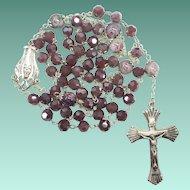 Serene Sterling & Mauve Glass & Lampwork Catholic Rosary – 56 Feminine Grams
