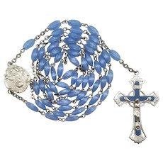 Vintage Marian Blue Glass Catholic Scapular Rosary