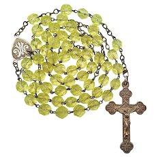 Antique Silver & Uranium Glass Catholic Rosary | Budded Crucifix