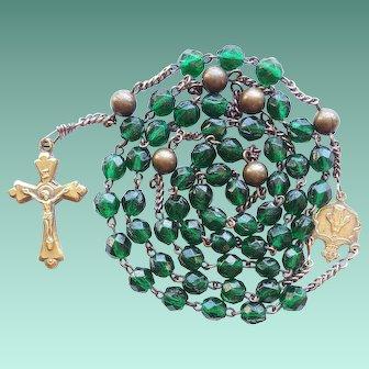 Antique Victorian Catholic Rosary – Hunter Green Glass & Brass