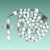 Antique French Mother of Pearl and Silver Chain Maille Catholic Rosary