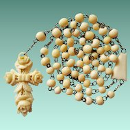 Antique German Bone Catholic Rosary – Carved Rose Cross – 48 Grams