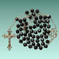 Antique Art Nouveau Lacy Silver & French Jet Catholic Rosary – Lourdes