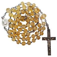 Antique French Silver & Genuine Topaz Holy Communion Catholic Rosary