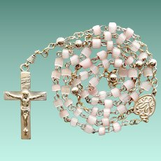 Vintage Miniature Catholic Blush Pink Cane Glass Rosary for Child or Doll Poupee – Silverplated