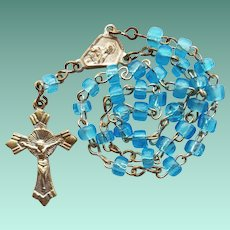 Miniature Italian Aqua Glass Anglican Rosary for Poupee Doll