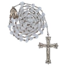Classic 1950s Sterling & Crystal Catholic Rosary – 51 Solid Grams