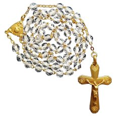 18K Antique French Gold & Crystal Catholic Rosary with Case | Marseilles