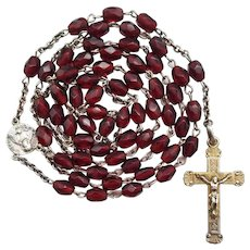 Vintage Italian WWII Gold Vermeil & Ruby Glass Rosary | Fascist Hallmark | Our Lady of Good Counsel