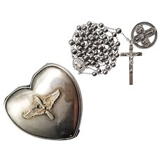 WWII All Sterling Catholic Rosary with Military Medal | Hingeco Sterling Air Corps Case | 69 Grams Total