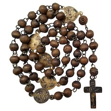 Early 1800s French Wood Rosary   Rare Stamped Crucifix & Medals   Four Nails