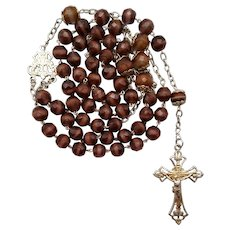 Outstanding French Art Nouveau Vermeil & Art Glass Catholic Rosary | 65 Glorious Grams