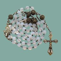 Vintage Opal Glass & Brass Catholic Rosary