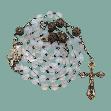 Vintage Opal Glass & Brass Catholic Rosary