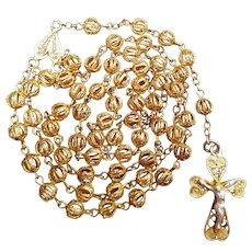 Petite Vintage Filigree Catholic Rosary | Italian Gold Vermeil