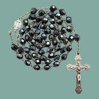 Vintage Iridescent Black Glass Catholic Rosary | Roma