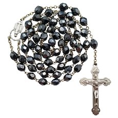 Vintage Iridescent Black Glass Catholic Rosary | Roma