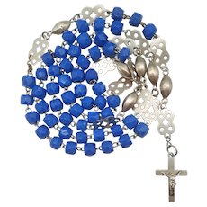Artisanal Art Glass Vintage Catholic Rosary | Fancy Spacers