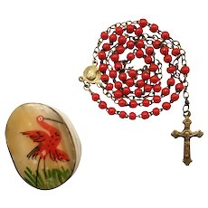 Antique Red Prosser Bead Catholic Rosary | Hand-painted Brass & MOP Case