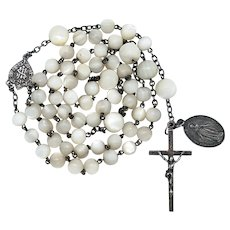 Antique Victorian Silver and Mother of Pearl Catholic Rosary – Silver Miraculous Medal – 53 Lustrous Grams