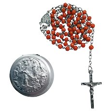 French Silver & Coral Lourdes Rosary | Lourdes Case