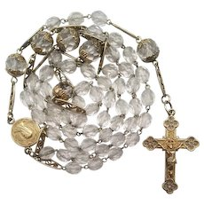 Stunning French Gold Vermeil & Crystal Catholic Rosary | Fancy Spacers | 40 Grams