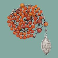 Antique Carnelian Agate & French Silver Lourdes Rosary | Fancy Spacers