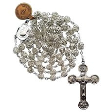 Pristine NWT Vintage Creed® Sterling & Double-Capped Crystal Catholic Rosary | 53 Sparkling Grams