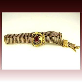 1880's Antique Jeweled Mesh Gold Filled Slide Tassel Bracelet