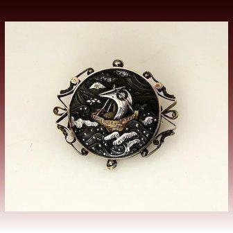 Rare Antique Shakudo Mixed Metals 14K Japanese Pin