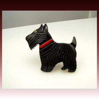 Early Carved Bakelite Black Scottie Dog !