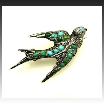 Antique Sterling Persian Turquoise Sentimental Sparrow Bird Pin