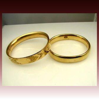 2 Vintage 1930's Chunky Gold-filled Antique Bangle Bracelets