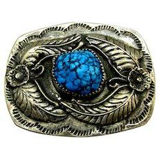 Native American Vintage Sterling & Turquoise Belt Buckle