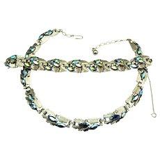 Vintage TRIFARI Blue Aurora Borealis Necklace & Bracelet Set