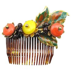 Early Unsigned Miriam Haskell Beaded Hair Comb