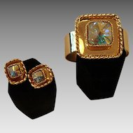 * RARE! Bergere Kaleidoscope Clamper  Bracelet and Earrings Set